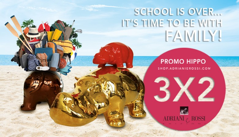 School is over! It's time to be with family !   On the purchase of two BIG HIPPOS in GOLD, PLATINUM, ANTIQUE GOLD finishing we give a SMALL HIPPO in RAL finishing at the client's choice (between the available RAL in our catalogue)