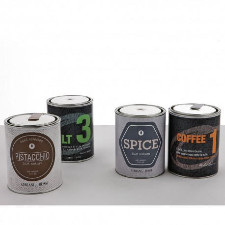 Set of 4 coloured tin cans