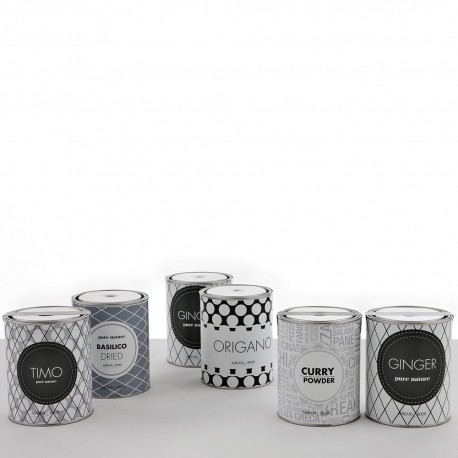 Set of 4 black and white tin cans
