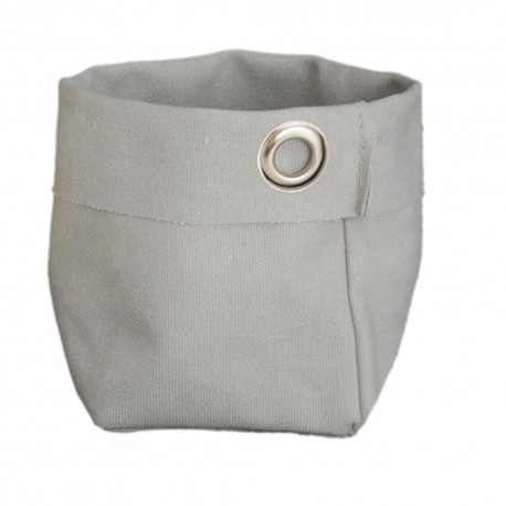 Pouches in pearl grey canvas with studs